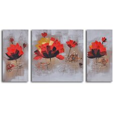 'Dancing Red Lilies' 3 Piece Original Painting on Wrapped Canvas Set