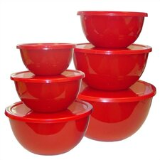 Calypso Basics 12 Piece Bowl Set in Red