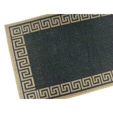Greek Key Black/Brown Geometric Indoor/Outdoor Area Rug
