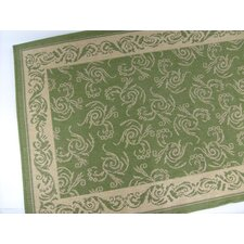 Scroll Emerald Green Indoor/Outdoor Area Rug
