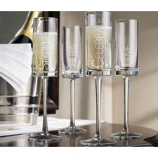 Toast Etched Flute (Set of 4)