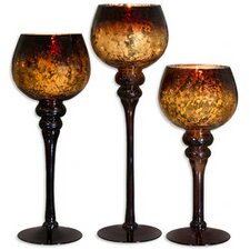 3 Piece Glass Candle Holder Set