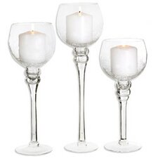 3 Piece Glass Candleholder Set