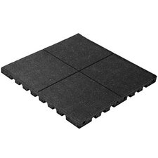 """PlayFall 2.50"""" x 24"""" Playground Safety Surfacing Terra Cotta Rubber Tile in Black"""