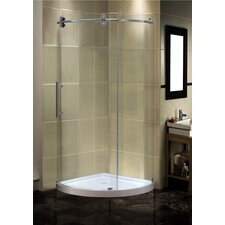 "40"" x 40"" x 77.5"" Completely Frameless Round Sliding Shower Left Handed Door Enclosure with Low-Profile Base"