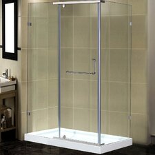 "48"" x 35"" x 77.5"" Semi-Frameless Rectangular Shower Enclosure with Low-Profile Base"