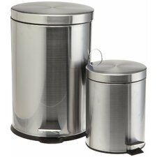 2 Piece Stainless Steel Trash Can Set