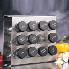 12 Bottle Stainless Steel Spice Rack with Lid