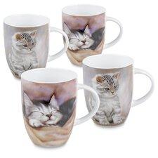 12 oz. Tiger Striped and Sleeping Kitten 4 Piece Mug Set