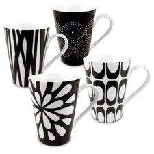 Black & White Assorted Mugs 4 Piece Set