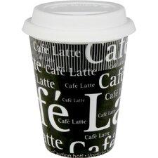 Travel Cafe Latte Writing Mug in Black (Set of 2)