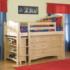 Cottage Twin Loft Bed with Bookcase and Wakefield Dresser