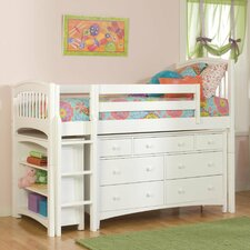 Windsor Twin Loft Bed with Bookcase and Essex Dresser