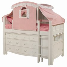 Emma Twin Loft Bed with 7 Drawer Tent and Storage
