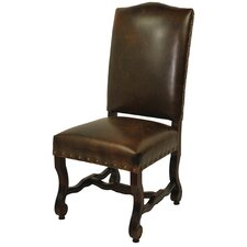 True Leather High Back Side Chair
