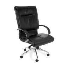 High-Back Leather Sharp Executive Chair with Arms
