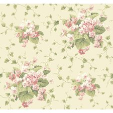 "Waverly Cottage Sweet Violets 33' x 20.5"" Floral and Botanica Wallpaper"