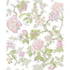 "Waverly 33' x 20.5"" Case Blanca Rose Wallpaper"