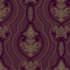 "Heritage Home Raised Ogee 27' x 27"" Damask Foiled Wallpaper"