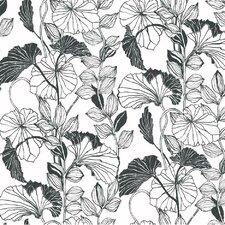 """27' x 27"""" Leaf Outline Floral Wallpaper"""