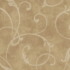 "Natural Radiance Delicate 27' x 27"" Scroll Distressed Wallpaper"
