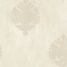 "Fresco Motif 27' x 27"" Damask Distressed Wallpaper"