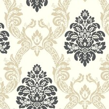 "27' x 27"" Ogee Damask Embossed Wallpaper"