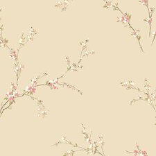 "Gentle Manor 33' x 20.5"" Oriental Spring Blossoms Floral Wallpaper"