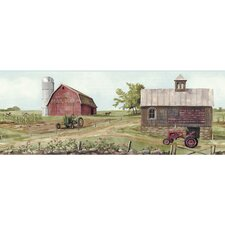 "Welcome Home 15' x 9"" Tractor / Barn Scenic Border Wallpaper"