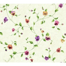 """Kitchen and Bath 27' x 27"""" Pansy Trail Floral Wallpaper"""