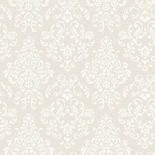 "Peek-A-Boo 33' x 20.5"" Delicate Document Damask Wallpaper"