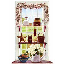 Mural Portfolio II Rose Hip Swag Trompe D'Oiel Window Accent Wall Mural