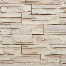 "Modern Rustic 33' x 20.8"" Travertine Trompe L'oeil Wallpaper"