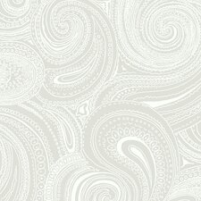 "Silhouettes Swirling 33' x 20.5"" Paisley Foiled Wallpaper"