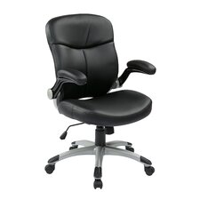 Eco Leather Executive Chair with Adjustable Padded Flip Arms
