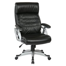 "Work Smart 25.75"" Leather Executive Chair with Adjustable Arms and Base"