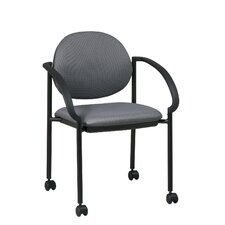 Stack Chair with Casters and Arm (Black Frame)