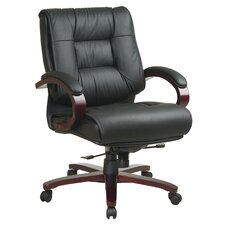 Deluxe Mid-Back Leather Conference Chair with Arms