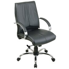 Deluxe Mid-Back Conference Leather Conference Chair with Arms