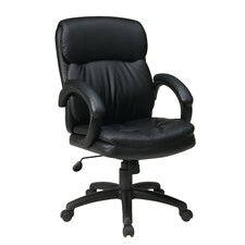 Mid-Back Eco Leather Conference Chair with Padded Arms