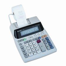 EL1801V Desktop Calculator, 12-Digit Fluorescent, Two-Color Printing