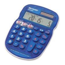 "10-Digit Calculator, Twin Powered, 3-1/3""x5""x3/4"", Blue"
