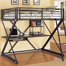 Z Bedroom Full Study Loft Bed with Desk and Bookshelves