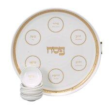 Traditional 7 Piece Porcelain Seder Plate & Dish Set