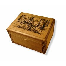 Mini Wooden Box with Two Bucks Print