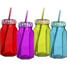 Gingham 17 oz. Jar with Lid and Straw (Set of 4)