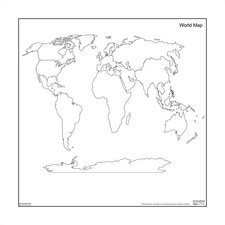 Dry-Erase Teaching Aides Mat - World Map Magnetic Whiteboard, 3' x 3'