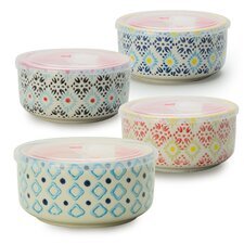 Print 8 4-Piece Microwave Storage Serving Bowl Set