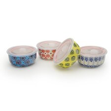 4 Piece 32 oz. Print 11  Microwave Storage Bowl Set (Set of 4)