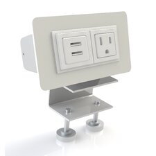 EYHOV Rail Desktop Mounted Power Unit with 1 Outlet and  2 USB Ports